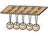 Drawing of Newton's cradle made of cardboard and wooden beads