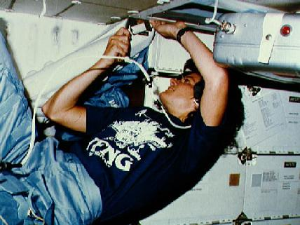 Sally Ride at work in space