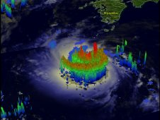 TRMM's 3-D view of Khanun's rainfall structure showed convective storms near Khanun's center.