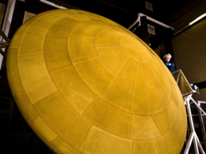 The finished heat shield for Mars Science Laboratory, with a diameter of 4.5 meters, is the largest ever built for descending through the atmosphere of any planet.