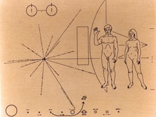 Pioneer 10's famous golden plaque features a design engraved into a gold-anodized aluminum plate. The plaque depicts a man and a woman as well as Earth's position in the galaxy.