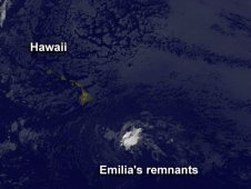 This visible image of the remnants of Hurricane Emilia was captured by NOAA's GOES-15 satellite on July 17, 2012