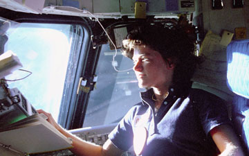 Astronaut Sally Ride during the STS-7 mission in 1983. Credit: NASA