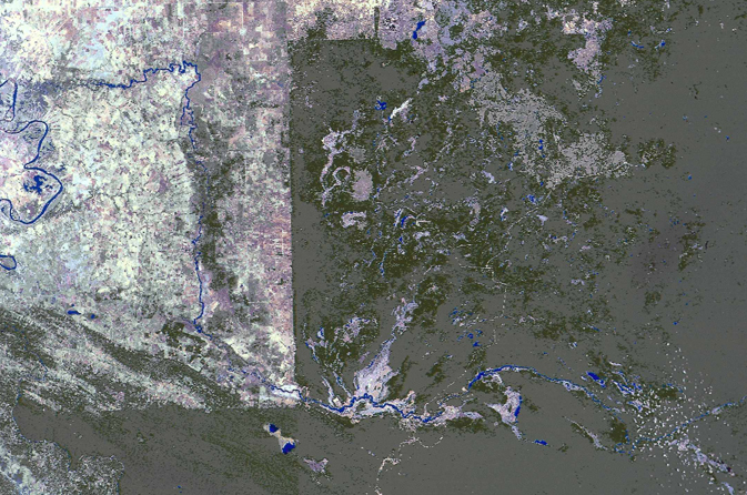 Landsat image mosaic showing Mexico-Guatemala border region in late 1980s