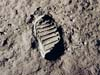 One of the first steps taken on the moon, this is an image of Buzz Aldrin's bootprint from the Apollo 11 mission. Neil Armstrong and Buzz Aldrin landed on the Moon on July 20, 1969. Credit: NASA