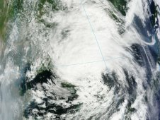 Tropical Depression Khanun over South Korea was captured by the MODIS instrument on July 19, 2012.