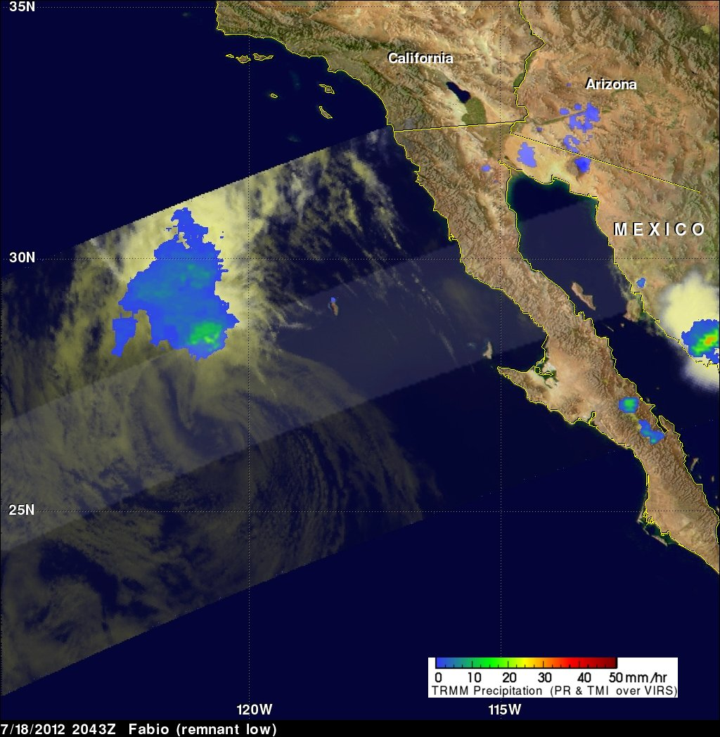 NASA's TRMM satellite captured rainfall data on the remnants of what was hurricane Fabio On July 18, 2012