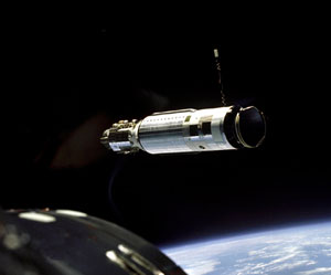 The Agena Target Vehicle as seen from the Gemini 8 spacecraft during rendezvous.