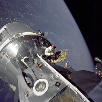 Apollo 9 Command/Service Modules (CSM) and Lunar Module (LM) docked in space.