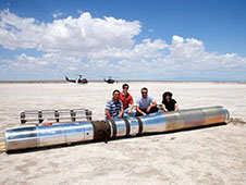 Members of the NASA Hi C team prepare to recover the telescope at White Sands Missile Range on July 11, 2012.