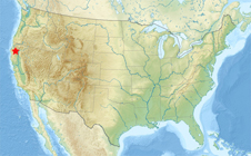map of continental United States with Trinity, Calif., labeled