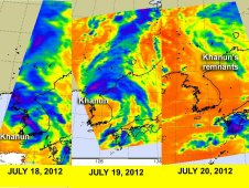 AIRS infrared imagery of Khanun from July 18-20.