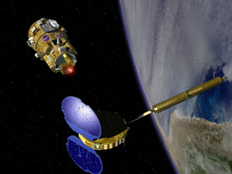 Artist's illustration of the kDART spacecraft approaching the MUBLCOM satellite