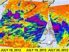 AIRS infrared imagery shows the progress of System 92W from July 18, 19 and 20
