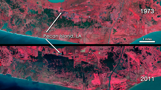 Landsat image showing comparison of area around Pecan Island in 1973 (top) and 2011