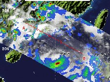 NASA's TRMM satellite captured rainfall data on Typhoon Vicente on July 23, 2012