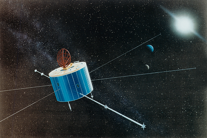An artist's rendition of what Geotail looks like in space.
