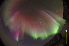 Auroras visible from the Amundsen-Scott south pole research station.