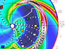 Animated GIF of the July 14 CME path as projected by Goddard Space Weather Lab models.