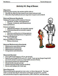 Cartoon drawing of a boy looking at a model of a life-size human skeleton