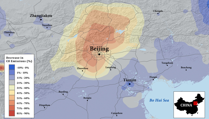 Levels of carbon monoxide in the Beijing area