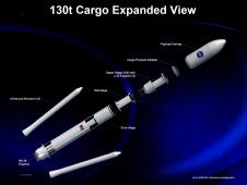 An expanded view of an artist rendering of the 130 metric ton configuration of the NASA Space Launch System
