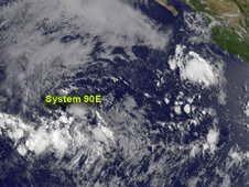 GOES-15 captured a visible image of System 90E at 1500 UTC and it was difficult to pick out a center of circulation.