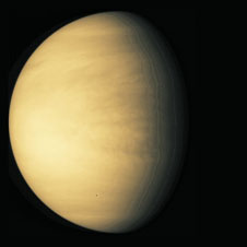 This picture by the Galileo spacecraft shows just how cloudy Venus is. Venus is very similar to Earth in size and mass - and so is sometimes referred to as Earth's sister planet - but Venus has a quite different climate.