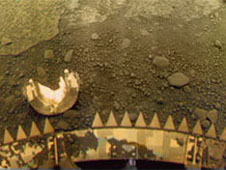Venera 13 landing site panorama, side A (penetrometer side), in original perspective prior to transformation.