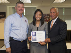 Josephine Santiago-Bond with NASA Chief Engineer Mike Ryschkewitsch (left) and NASA Administrator Charlie Bolden (right) at the Systems Engineering Leadership Development Program (SELDP) in June 2012.