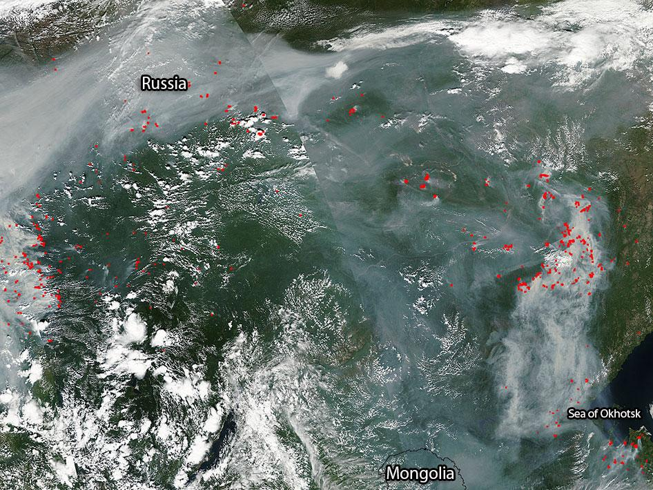 Fires burning in eastern Russia