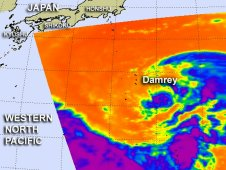 AIRS capture an infrared image of Damrey on July 29 showing thunderstorms (purple) around the center of circulation.