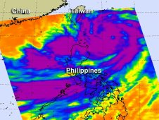 AIRS captured Typhoon Saola some 300 miles from Taiwan southwest over the Philippines.