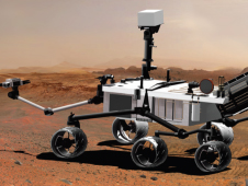 Artist's drawing of the Curiosity rover on Mars