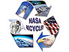 NASA Recycles logo with photo collage of an astronaut, view of Earth, an eagle, a U.S. flag, the space station, a galaxy and space shuttle launch