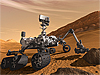 Artist's concept of NASA's Mars Science Laboratory Curiosity rover on Mars