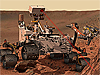 Artist drawing of Curiosity rover aiming a laser and drill at a rock formation on Mars
