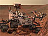Artist's concept of the Curiosity rover on the surface of Mars