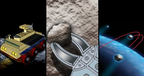 Three NASA Centennial Challenges, graphics show artist concepts for Night Rover, Sample Return Robot, Nano Satellite Launch
