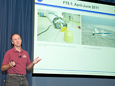 Jim Montgomery, JPL's field test lead for the Mars Science Laboratory's Terminal Descent Sensor landing radar, outlined flight tests of the system housed in a Quick-Test Experimental Pod on one of NASA Dryden's F/A-18 aircraft during the spring of 2011.