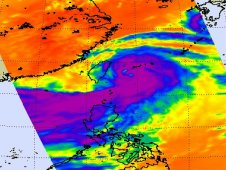 AIRS captured this image of showed Saola showing high, cold cloud tops of thunderstorms (purple) approaching Taiwan