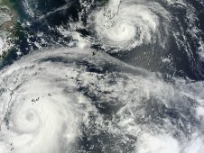 MODIS captured this image of Saola approaching Taiwan, and Damrey approaching southern Japan on August 1