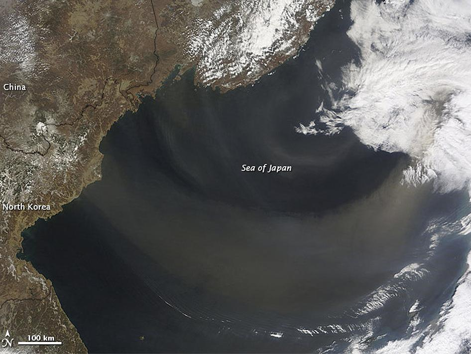 A dust plume arose over Inner Mongolia and on April 9, 2012, began its eastward journey over the Sea of Japan