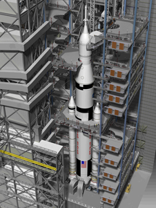 A conceptual look at the future of the VAB, with high bay 3 configured for processing the Space Launch System heavy-lift launch-vehicle series.
