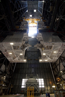 A floor-level look at the huge Apollo- and shuttle-era platforms that will be removed from high bay 3 of the VAB.