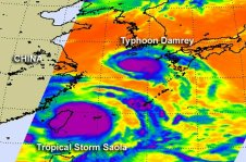AIRS captured a look at Tropical Storm Saola and Typhoon Damrey's cloud top temperatures on August 1, 2012