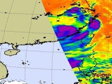 AIRS captured this infrared image of Tropical Storms Damrey and Saola and Tropical Depression Haikui