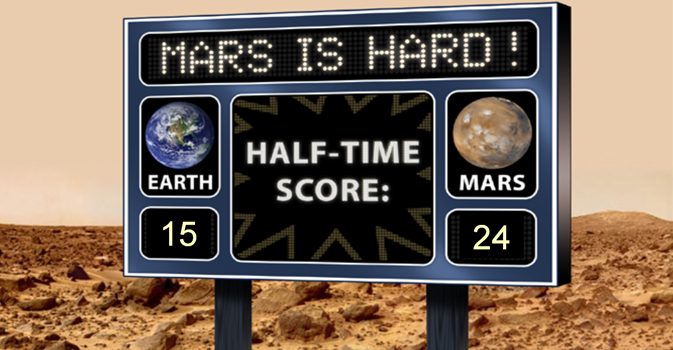 Artist's concept of a scoreboard with Earth and Mars scores