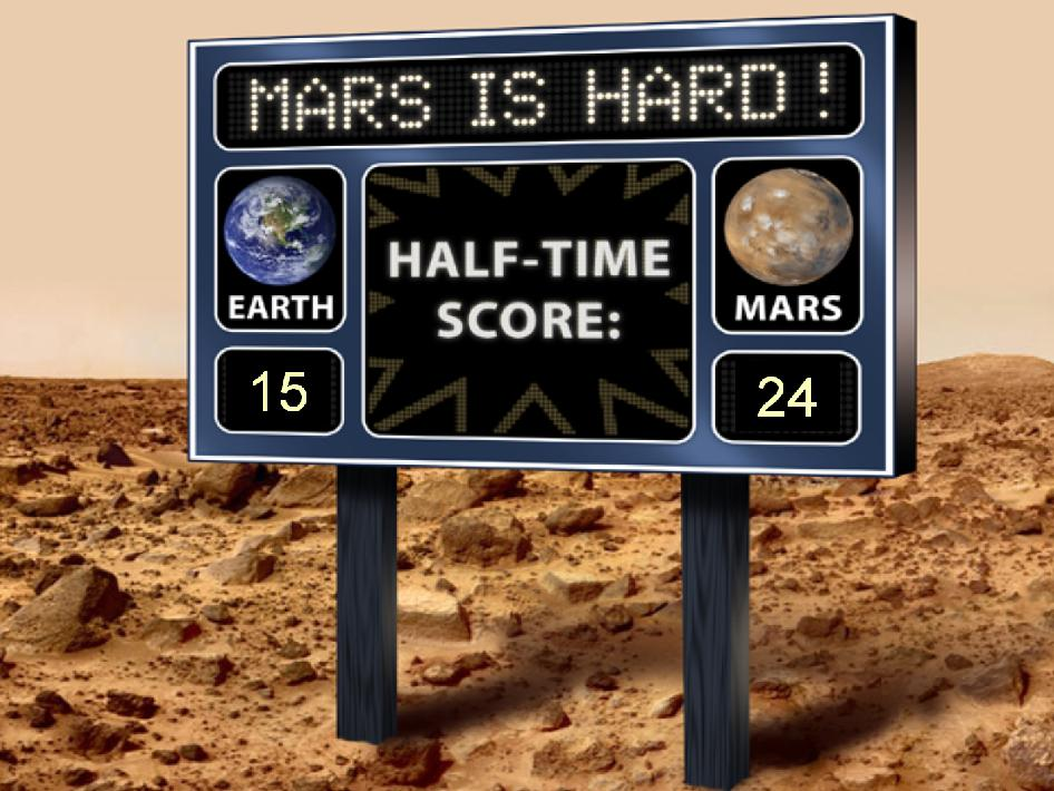 Artist's scoreboard displays a fictional game between Mars and Earth