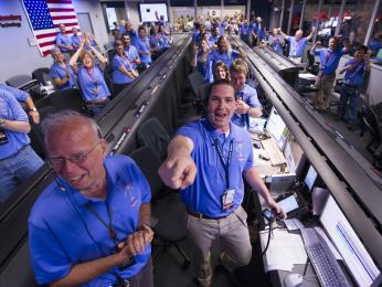 The Mars Science Laboratory (MSL) team in the MSL Mission Support Area react after learning the the Curiosity rove has landed safely on Mars and images start coming in at the Jet Propulsion Laboratory on Mars, Sunday, Aug. 5, 2012 in Pasadena, Calif. The MSL Rover named Curiosity was designed to ass